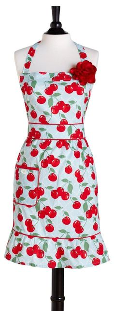 JESSIE STEELE Cherry Courtney Apron $19.95 OUT THE DOOR! LOWEST PRICE GUARANTEE PICK UP OR WE WILL SHIP FREE  LARGE SELECTION OF BEAUTIFUL KITCHENWARES ON OUR WEBSITE http://lacuisinallc.mybigcommerce.com/