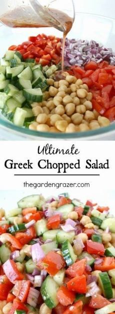 Greek Chopped Salad recipe - a great way to make a healthy lunch or dinner this Summer!