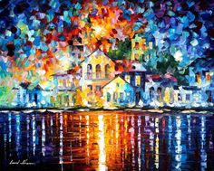 """Sleepy Harbor — PALETTE KNIFE Oil Painting On Canvas By Leonid Afremov - Size: 30""""x24"""" This Price Only With Promotion Buy Two Get One Free!"""