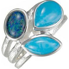 MarahLago - Larimar & Australian Opal Arbol Ring