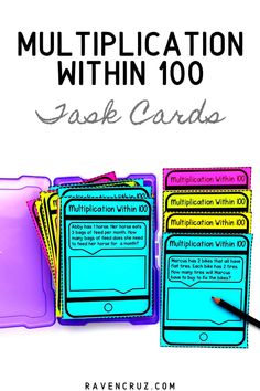 Word problems don& have to be hard! These multiplication within 100 work problem task cards are a fun way for students to practice word problems. Use them in math centers, small groups, math rotations, etc. Teaching Multiplication, Teaching Math, Multiplication Strategies, Teaching Tools, Teaching Ideas, Math Rotations, Math Centers, Math Resources, Math Activities