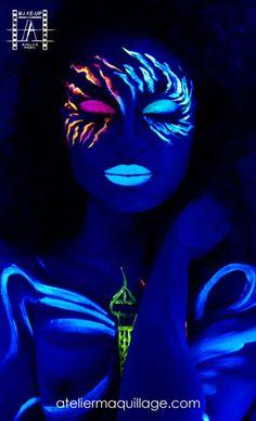 Fluorescent makeup under black lights