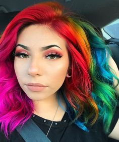 Rainbow Hair looking gorgeous in our colors- try our Rainbow Pack for a similar style! Pretty Hair Color, Hair Color Dark, Hair Dye Colors, Rainbow Hair Colors, Aesthetic Hair, Grunge Hair, Pretty Hairstyles, Rainbow Hairstyles, New Hair