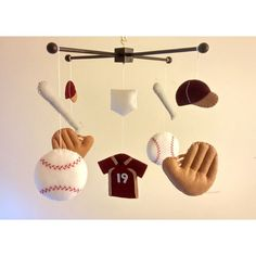 Baby Crib Mobile Felt Mobile Baby Mobile Baseball Mobile Sports Mobile... ($93) ❤ liked on Polyvore featuring home, children's room, children's decor, bedding, home & living and white