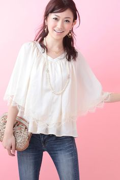 Lace Poncho (Ivory)   Cherry Ann Online Shop Cherry Ann, Bell Sleeves, Bell Sleeve Top, Ivory, Ruffle Blouse, Blouses, Lace, Shopping, Tops