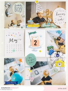 Birthday Boy Project Life Seite | Crate Paper Hooray |  Ulrike Dold Baby Boy Scrapbook, Crate Paper, Create Website, Project Life, Boy Birthday, Crates, Inspiration, Studio, Boys