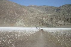 """Badwater, Death Valley, it is incredible to stand at bad water and turn and look at the """"Sea Level"""" sign above you in the mountains."""