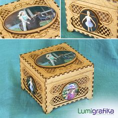 Bespoke Potpourri Box, personalised with decoupage photos. Bottom half of the interior includes vents and removable interior lid for potpourri, while the top half can be used for storage of jewellery, keys or small trinkets. Jewelry Box, Jewellery, Creative Studio, Potpourri, Laser Engraving, Bespoke, Keys, Decoupage, Decorative Boxes
