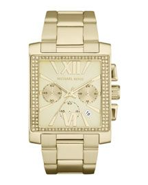 Y18G5 Michael Kors Oversized Golden Stainless Steel Gia Chronograph Glitz Watch