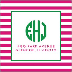 Rugby Stripe Monogram Return Address Sticker - Hot Pink