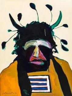 Fritz Scholder, (Native American, 1937-2005), American Portrait with Santa Fe Headdress, 1975