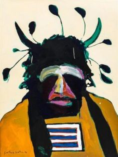 Fritz Scholder, (Native American, 1937-2005), American Portrait with Santa Fe Headdress, 1975