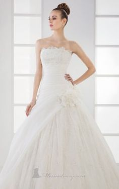 Embellished Scalloped Neckline Gown by Pure White by Saboroma 7029