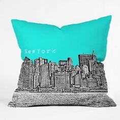 Amazon.com: DENY Designs Bird Ave New York Aqua Throw Pillow, 18-Inch by 18-Inch: Home & Kitchen