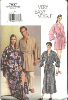 Vogue Sewing Pattern 7637 Size Large (chest 42-44) Easy Unisex Front Wrap Robe Bathrobe