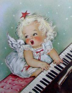 christma card, christmas cards, vintag christma, vintage christmas, piano, christmas card photos, christmas angels, charlot byj, vintage cards