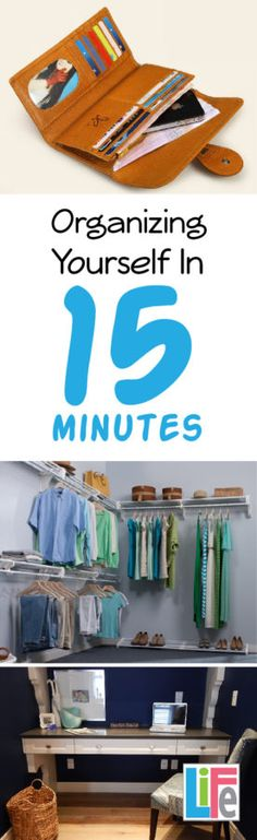 Useful tips on how to organize yourself 15 minutes here and there, that add up to a very organized you!  Click to read more from this realistic and helpful blog- LOVE it!