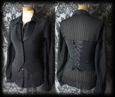Gothic Black Fitted ETHEREAL Lace Up Corset Waistcoat 6 8 Steampunk Victorian - £24.00