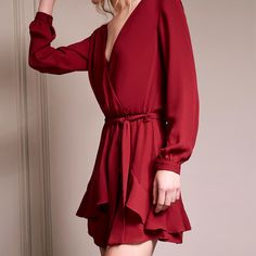 For your office holiday party | ruffle wrap mini | available online now  get the look > http://ss1.us/a/HAj17MJf