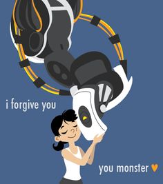 Glados and Chell by ~robosuplex on deviantART. *sigh* if only it could have worked out that way. Portal Memes, Portal Wheatley, Portal Art, Aperture Science, Pokemon, You Monster, Gamer Humor, Team Fortress 2, Best Games