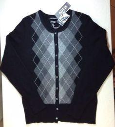 Apt 9 Cashmere Sweater Small Womens Cardigan Argyle Long Sleeve Gray Black NWT