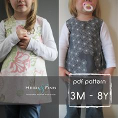 Sweet Pocket Pinafore pattern and tutorial 3M-8y easy sew pdf