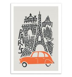 Fox and Velvet invite you to a world tour of emblematic cities, in a naïve and minimalist graphic style. Here a design of Paris, city of France. Art-Poster and prints published by Wall Editions. Illustration Format : 50 x 70 cm