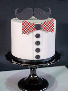 Bow ties and Mustache cake. Cute idea for a grooms cake Birthday Cakes For Men, Cakes For Boys, Cake Birthday, Happy Birthday, February Birthday, Fondant Cakes, Cupcake Cakes, Mustache Cake, Mustache Party