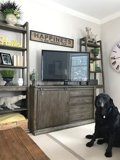 Anyone else loving the barn door look? Often the area around the Tv is neglected. I love how these tall ladder style bookcases from Raymour and Flanigan add height and interest. The rustic gray washed weathered wood goes perfectly with the relaxed family room decor.
