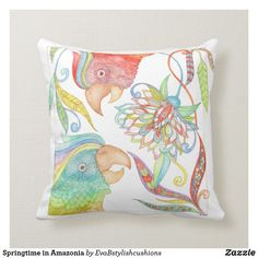 Springtime in Amazonia Cushion Original Gifts, Cushions, Paintings, Throw Pillows, The Originals, Creative, Unique Gifts, Toss Pillows, Toss Pillows
