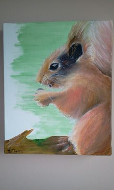 My new commission painting of a happy little squirrel