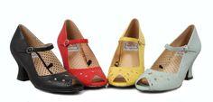 "Ellie Bettie Page ""Perla"" Retro Mary Jane Peep Toe Pumps Shoes Red 2.5"" Heels 5 #BettiePagebyEllie #MaryJanes"