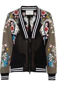 Phillip Lim Embroidered chiffon and twill varsity jacket Winters THE ULTIMATEEEEEEE (also Selena Gomez wore it in Nylon also im totes jealous) Phillip Lim, Runway Fashion, Womens Fashion, Fashion Trends, Striped Jacket, Menswear, Kawaii, Kpop, Outfits