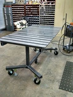 Welding table project I built at work, mobile or stationary. The ultimate work table. The top also pivots. Made by c work 7/28/16