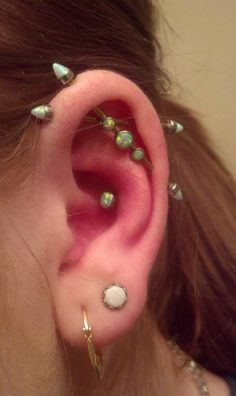 Double industrial piercing - I am IN LOVE!