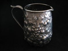 "S Kirk and Son coin silver ""Repousse"" creamer, c1846-1861 (lam)"