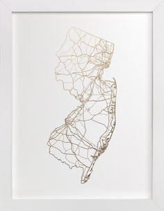 """New Jersey Map"" - Available in a variety of frame and size options"
