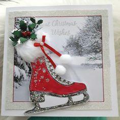 Chloe stamp... Create Christmas Cards, Christmas Cards 2018, Christmas Paper Crafts, Homemade Christmas Cards, Christmas Greeting Cards, Handmade Christmas, Homemade Cards, Christmas Ornaments, Mix Media