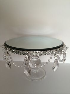 Cake Stand with Pearl and Acrylic Tear Drop by PadipaDesigns