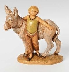 Nisan, Boy With Donkey, For Scale Fontanini® Nativity. Christmas Nativity Scene, Christmas Crafts, Nativity Sets, Crafts For Boys, Arts And Crafts, Fontanini Nativity, Sculptures, Lion Sculpture, Italian Village