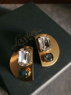 Gold plated earrings with labradorite and glass crystals Still Life Photos, Gold Plated Earrings, Labradorite, Rings For Men, Collections, Crystals, Glass, Handmade, Jewelry