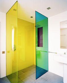 multi - colored flourescent shower doors, Rundell Associates, Remodelista