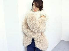 NANING9  Open-Front Furry Jacket