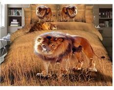 Attractive Lion on Grass Land Print 4-Piece 3D Duvet Cover Sets