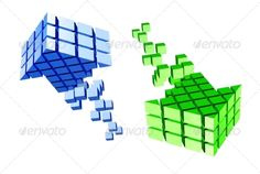 Arrow icon made of cubes isolated on white. Vector illustration