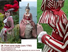 White and red 18th century's striped dress by Temps d'Elegance.