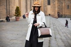 I love this white coat, as it is casual enough for a daytime outfit but also can be smartened up for evening!