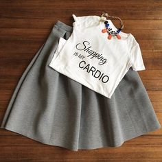Tee with Gray Midi Skirt Available at Lush & Co. Boutique