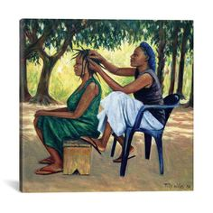 Tilly Willis Poster Print Wall Art Print entitled The Hairdresser, 2001 (oil on canvas), None Canvas Artwork, Canvas Wall Art, Oil On Canvas, Canvas Prints, Big Canvas, Canvas Size, African American Artwork, African Artwork, Painting Prints