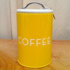 Retro style coffee tin - yellow